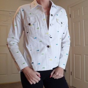 Choices Fish White Jean Button Up Jacket